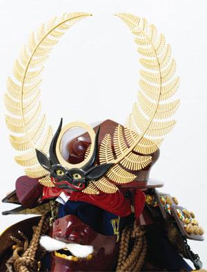 五月人形・久能山東照宮蔵 栄達の徳川家康の歯朶(しだ)具足模写 兜部分