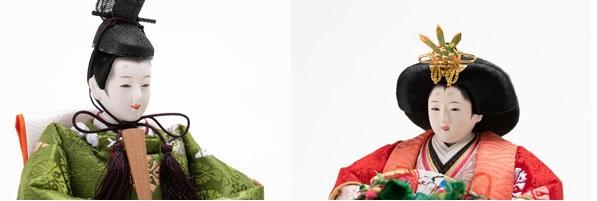 親王飾り・京十二番焼桐平台親王飾りNo1401 男雛のお顔・女雛のお顔