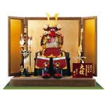 鎧飾り・ 黒小札赤糸(茜糸)威大鎧焼桐飾り台飾りNo3212