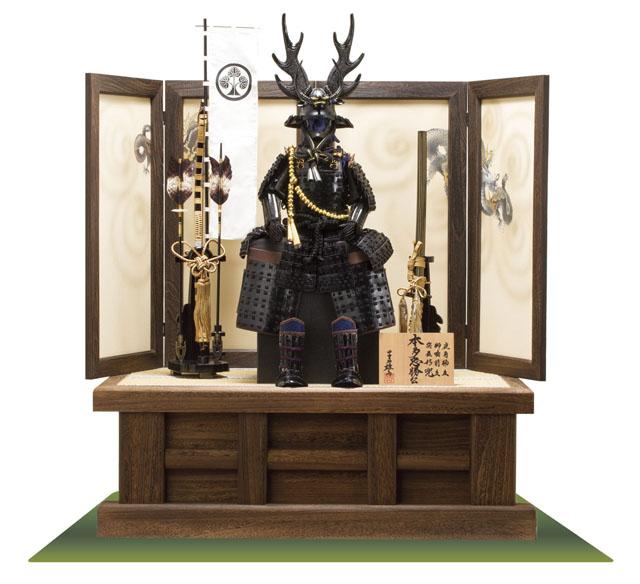 五月人形・戦国武将・本多忠勝公鎧 本多隆将氏蔵 黒糸縅二枚胴具足模写 高床台鎧飾り