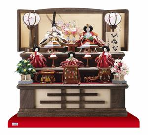 雛人形・京十二番親王小柳官女付焼桐三段収納飾り No2996