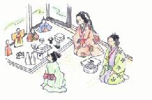 貝原益軒の『日本歳時記」ひな祭りの図